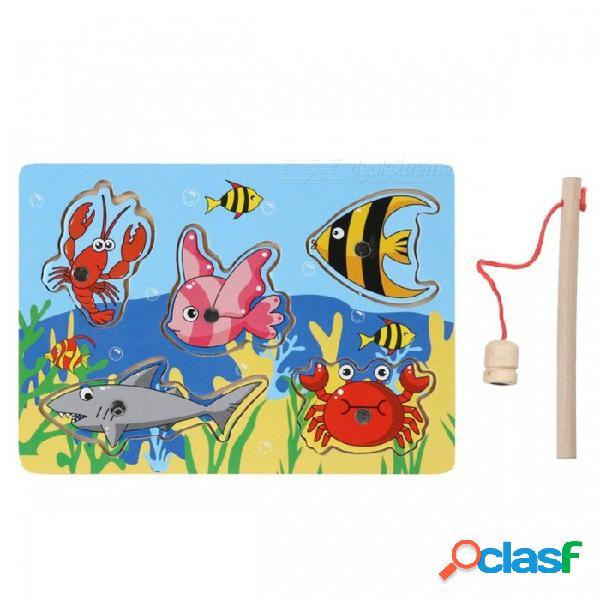 Juego de pesca de madera magnética 3d rompecabezas de juguete para niños, niños interesantes bebé juguete educativo linda, regalo de navidad colorida