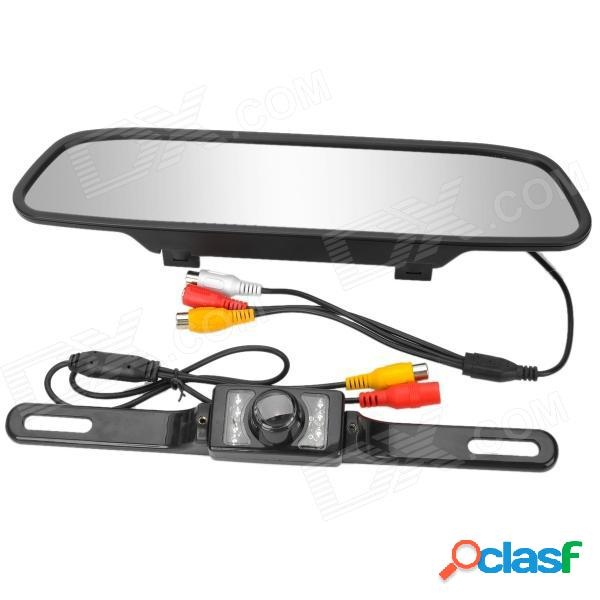 """Monitor retrovisor para auto de 4.3 """"+ kit de cámara cmos impermeable con visión nocturna de 7 led - negro"""