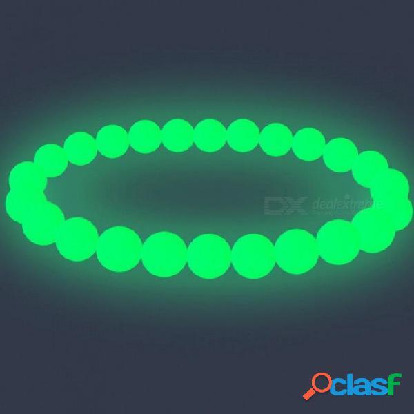 Perla luminosa pulsera de luz resplandeciente cuentas de piedra natural pulsera antiestrés juguete mágico para hombres mujeres puño fiesta de pulsera 16 cm / luz verde