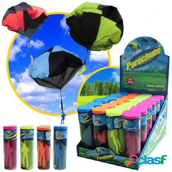 al aire libre mini paracaídas de juguete mano lanzar soldado paracaidista estilo juguetes educativos chrismas regalo para niños niños azul