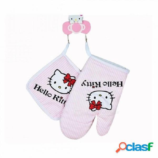 Hello kitty cocina cocina horno de microondas guantes de aislamiento almohadillas aislantes algodón engrosamiento guantes antideslizantes rosa