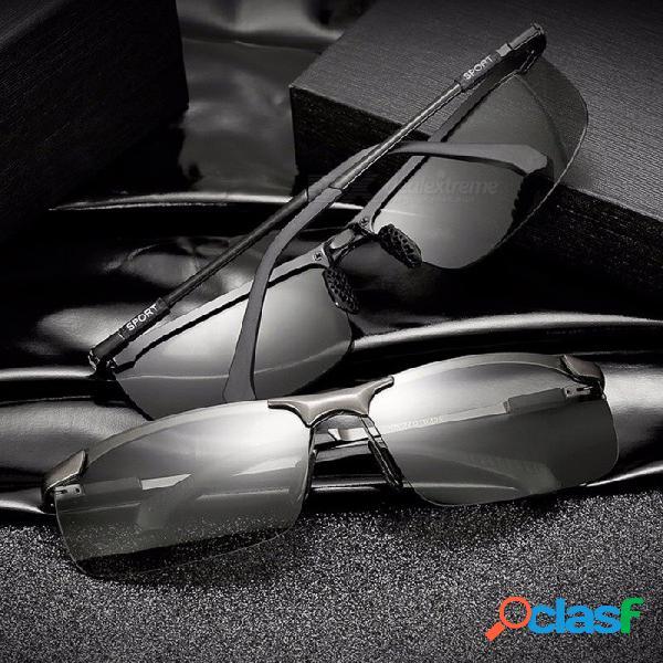 Qj-3066 deportes al aire libre de los hombres cambian de color las gafas de sol polarizadas antirreflejo protección uv400 gafas de sol de conducción negro