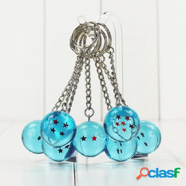 7 unids / lote bola del dragón del animé z 1 2 3 4 5 6 7 estrellas bolas de cristal azul figura de pvc juguete con llavero tamaño 3 cm 3 cm