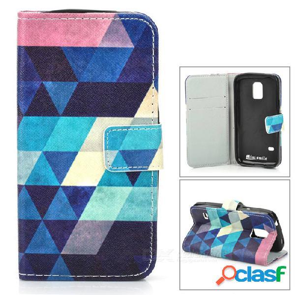 Argyle flip-abierto pu + tpu caso w / stand / ranuras de tarjeta para samsung galaxy s5 mini - azul + azul
