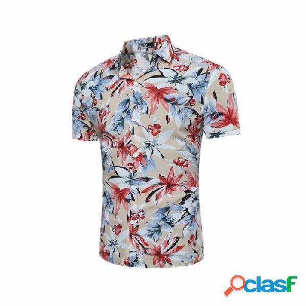 Camisa de manga corta floja de la impresión de la flor del verano de la moda de los hombres, camisa de playa masculina ocasional del estilo de hawaiian negro / m