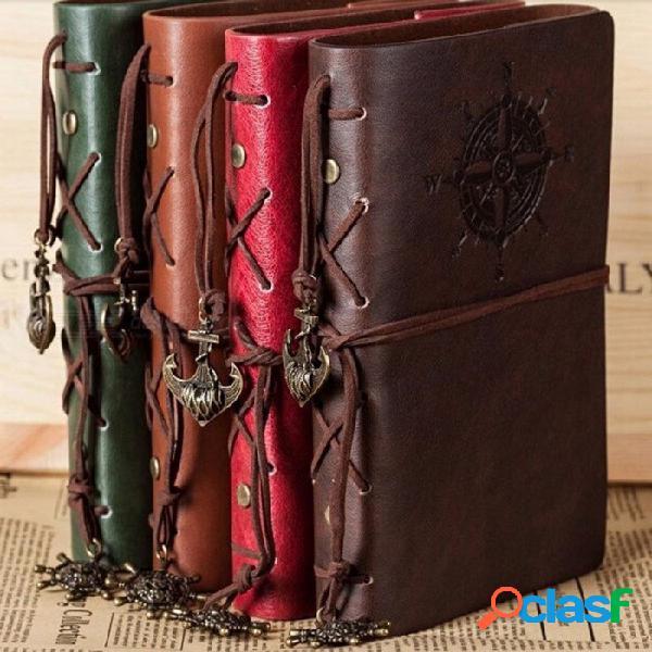 Cuaderno espiral, diario, libreta, pirata, anclajes, pu, cuero, cuaderno, reemplazable, papelería, regalo, viajero, diario