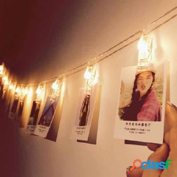 Funciona con pilas 30 luces led de hadas luces de navidad luces de hadas para el banquete de boda decoración de fotos blanco cálido / 30 caja de batería led