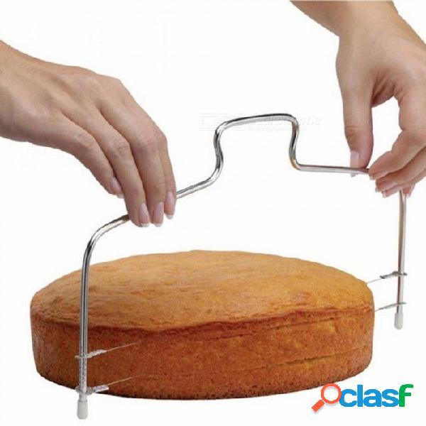 Línea doble de acero inoxidable ajustable herramientas de corte de pastel de metal dispositivo de la máquina de cortar la torta que adorna el molde bakeware herramienta de cocina cocina línea