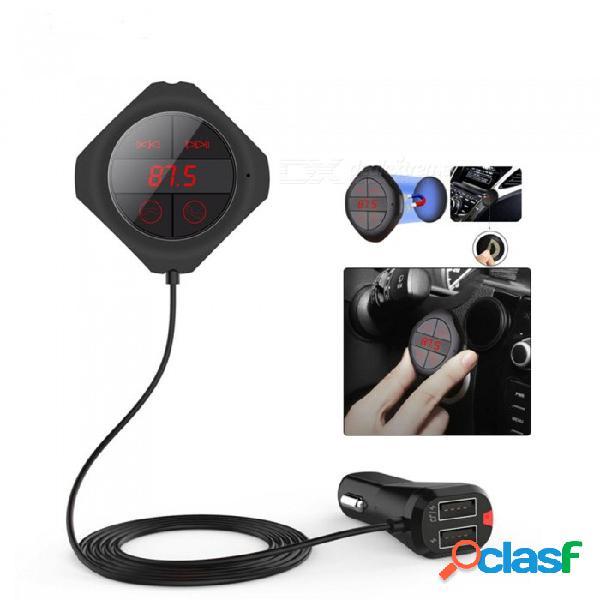 Bluetooth handsfree car kit wireless fm modulator magnetic sticker dual usb charge fm transmitter bluetooth car mp3 player