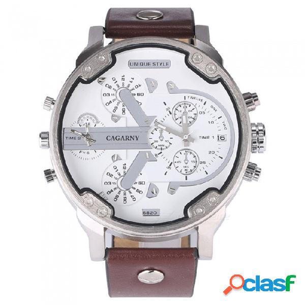 Cagarny 6820 reloj analógico de cuarzo para hombre con esfera grande y pantalla doble con fecha y hora, correa de cuero