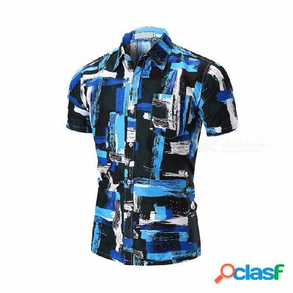 Camisa de manga corta de los hombres delgados de la impresión del verano de la manera, camisa de playa masculina floral ocasional azul / m