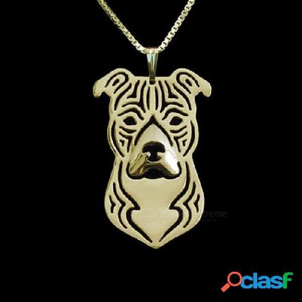 Oro y plata 1 unids de dibujos animados boho chic aleación american staffordshire terrier collar moda pit bull colgante plata oro colores oro color