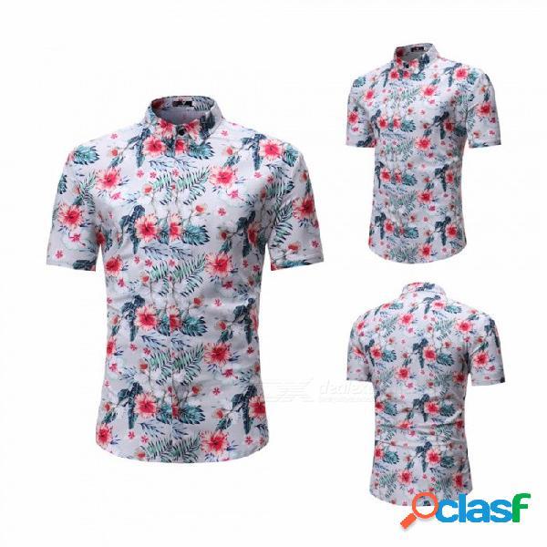 Verano de la manera deja la camisa de manga corta de los hombres de la impresión de la flor, camisa de playa masculina casual gris claro / m