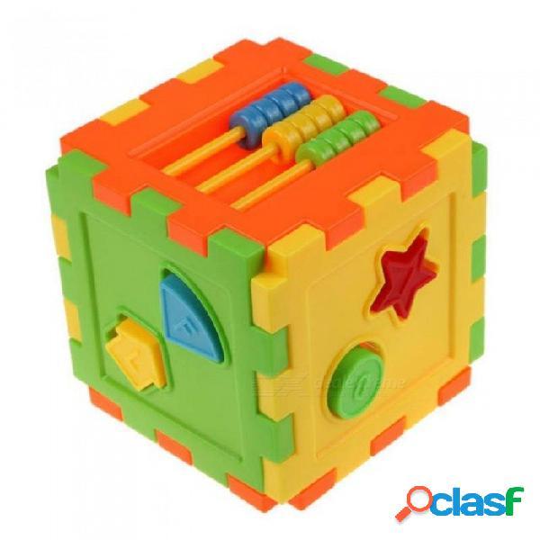 Bloques de bloques de ladrillos de cubo de forma geométrica animal educativo bloques de construcción de juguete de inteligencia de bebé de plástico educativo bloques de construcción