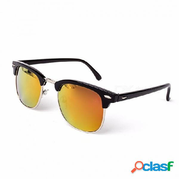 Alta calidad chic medio metal uv400 gafas de sol clásicas para hombres y mujeres, espejo de moda gafas de sol gafas c16 oro negro