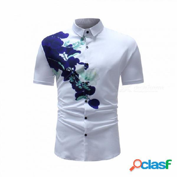 Camisa de algodón polo con estampado de jacquard de manga corta de verano para hombres camisa de algodón polo de solapa de manga corta blanco / m