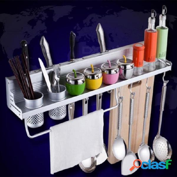 Cocina despensa de aluminio utensilios de cocina especias vajilla utensilios de cocina estante utensilios de almacenamiento cubiertos organizador titular con ganchos de aluminio