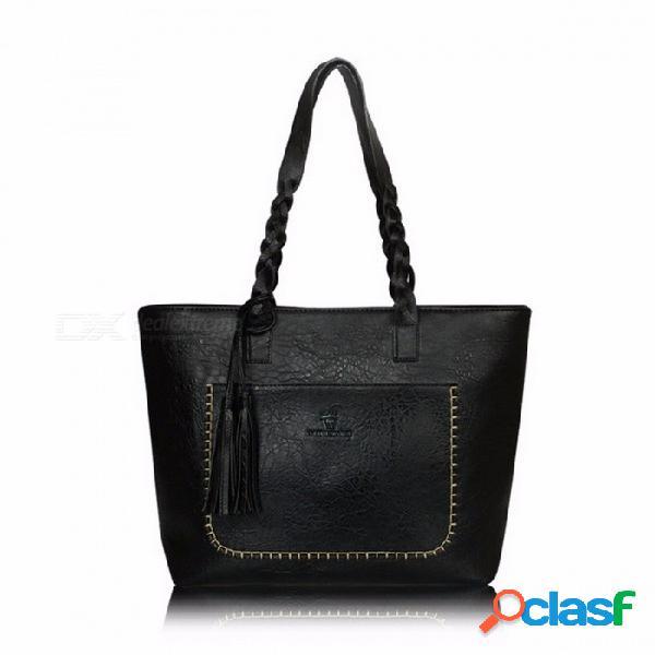 La bolsa de asas del hombro de las mujeres de gran capacidad portátiles, la bolsa de mensajero con la borla, bolso hermoso / negro del bolso elegante del cuero de la pu de la moda