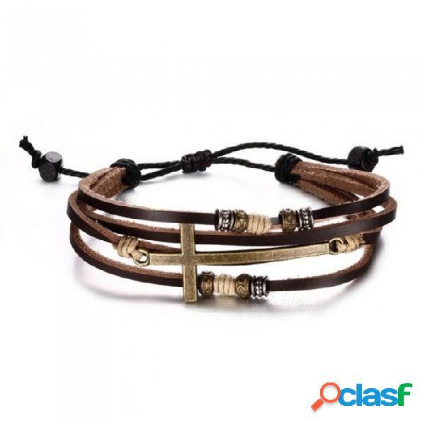 Pulseras y brazaletes cruzados genuinos de cuero genuinos para mujeres y hombres tamaño de la joyería brazalete de cuero cuerda ajustable bohemia marrón