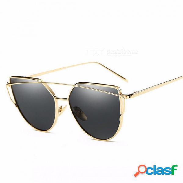 Wish club forma de ojo de gato gafas de sol uv400 chic mujeres, lente de espejo de doble haz rosa lente gafas de sol gafas de oro w negro