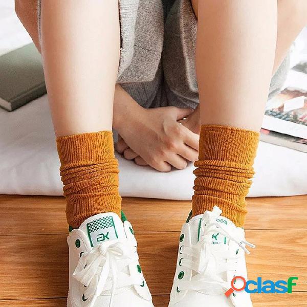 Calcetines de tubo de color sólido de algodón de color caramelo, estilo retro calcetines de pelo básicos verticales para mujer (1 par / tamaño 35-39) beige