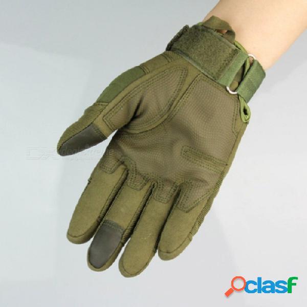 Guantes militares tácticos para deportes al aire libre, protección total para armadura guantes de dedo para montar, escalar, escalar, entrenar (1 par), ejército verde / s