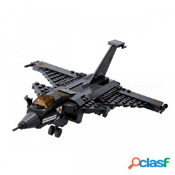Kazi avión de combate militar bloquea bloques de construcción de ladrillos de 191 piezas establece juguetes educativos para niños niños negro (sin caja original)