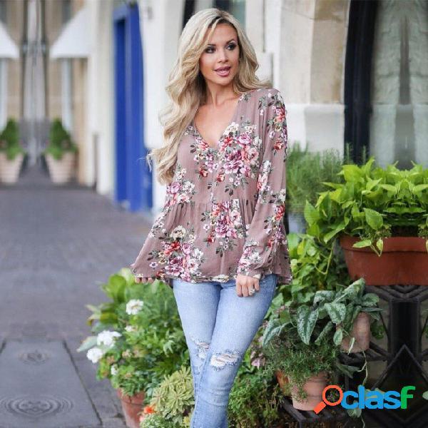 Moda de otoño elegante estampado de flores cuello en v manga larga blusa de gasa suelta camisa superior para mujer gris purpel / s