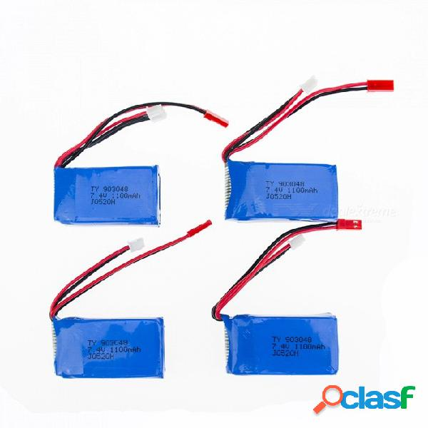 4 pcs 7.4v 1100 mah batería de polímero de litio de alta potencia li-po para syma x8c x8w rc quadcopter