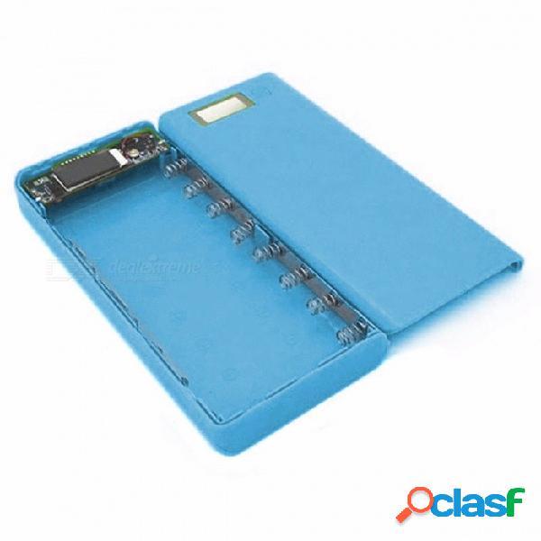 Caja de batería del banco del poder del caso 18650 de diy caja de batería externa del cargador 18650 portátil con pantalla lcd para el teléfono celular azul