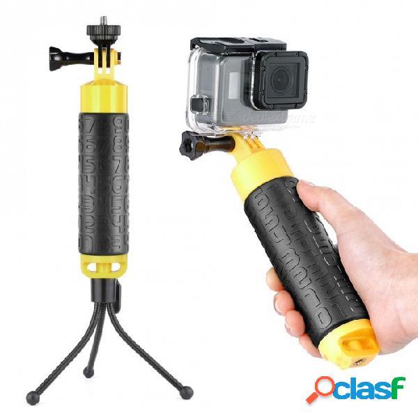 """Empuñadura flotante + mini trípode flexible + adaptador de montaje para trípode para cámara de 1/4"""" + tornillo largo para gopro 6/5/4 - negro + amarillo"""