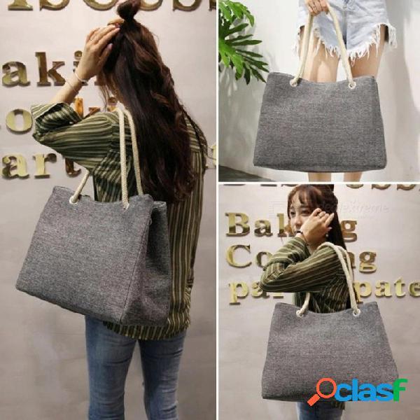 Moda de mujer bolso de lino grande de compras de compras de vacaciones gran cesta grande bolsas de playa de verano tejida playa bolso de hombro longitud 42 cm