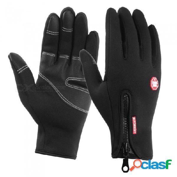 Pu palma guantes de motocicleta a prueba de viento cálido moto bicicleta ciclismo guante de motocross equipo de protección negro / s