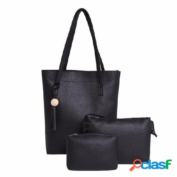 Granos de madera de tres piezas bolso borla patrón bolsas de asas para las mujeres compuestas bolsa de moda de gran capacidad