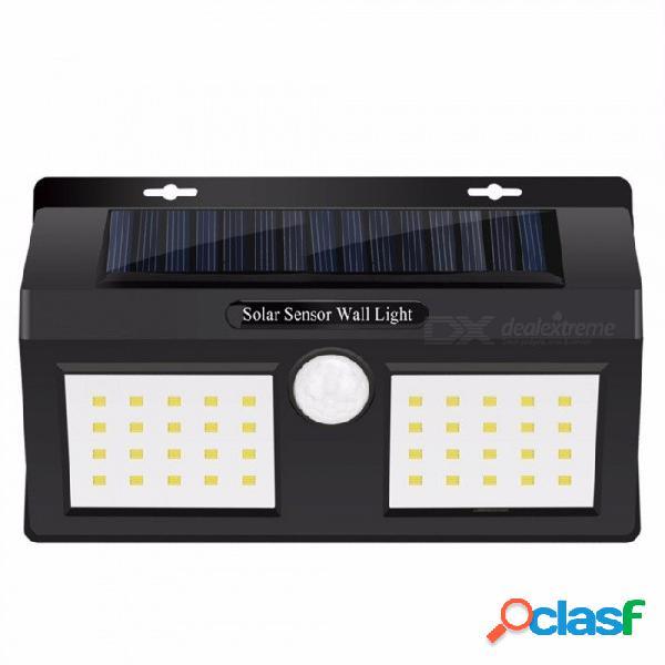 Luz solar impermeable para jardín, lámpara de pared con sensor de movimiento pir de seguridad de 40 led, luz de porche de trayectoria blanca / 0-5w / negro