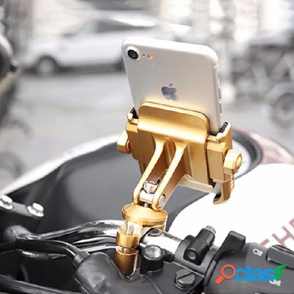 Motowolf soporte de soporte de teléfono de motocicleta de aleación de aluminio universal, soporte de teléfono de moto para gps manillar de bicicleta - oro oro