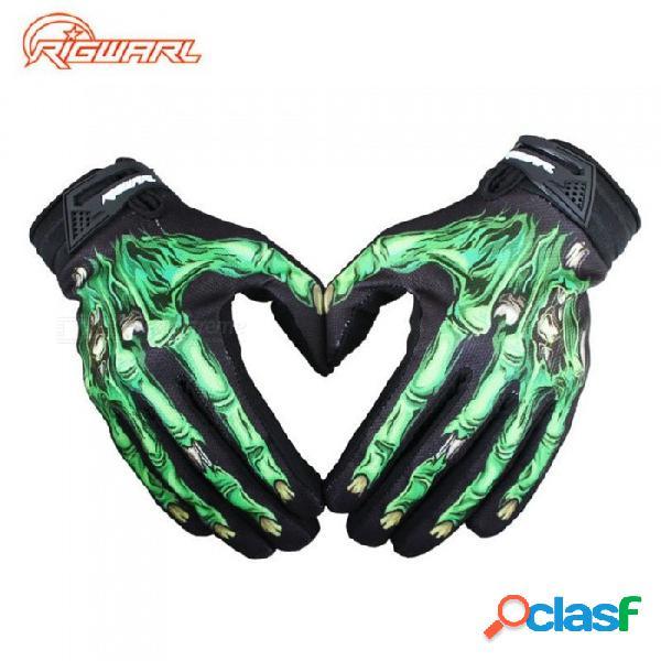 Nueva moto guantes a prueba de viento cálido moto bicicleta ciclismo fantasma guante de motocross equipo de protección verde / s
