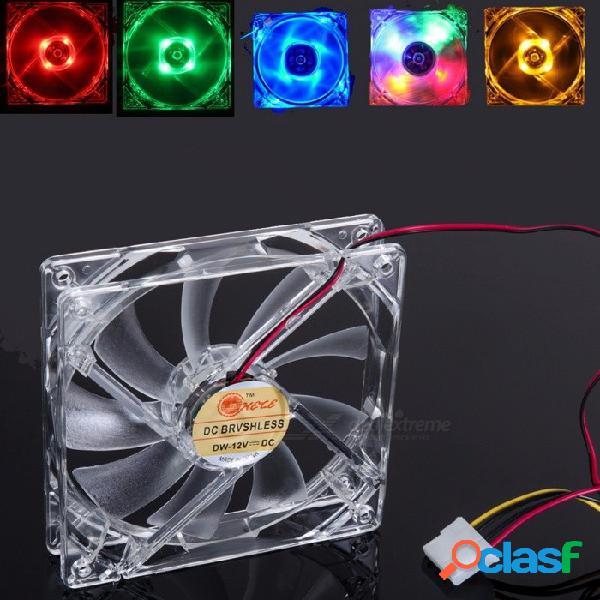 Portátil 120 x 120 x 25 mm 4-led luz quad caso claro silencioso silencioso refrigerador fresco cpu ventilador para computadora pc