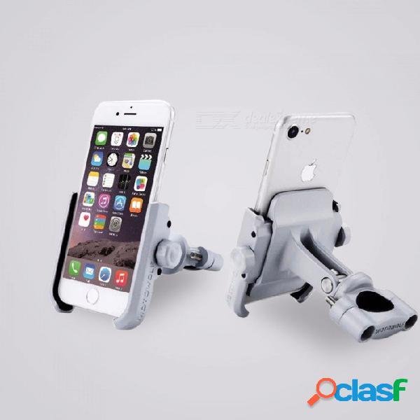 Soporte universal de motowolf soporte de teléfono de la motocicleta de aleación de aluminio, soporte del teléfono para el manillar de la bicicleta - gris plata gris plateado