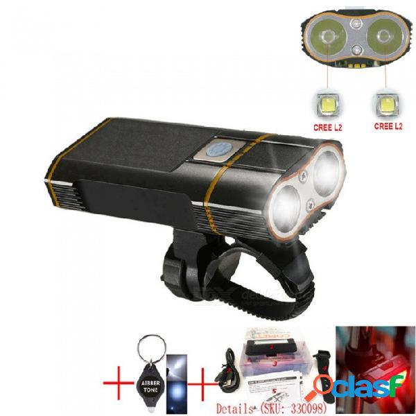 Tono aibber 2 x xm led - l2 800lm usb recargable mtb bicicleta de seguridad linterna, luz delantera del manillar de bicicleta led