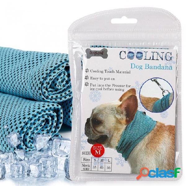 Bufanda del pañuelo del perro del enfriamiento del hielo instantáneo para los perros pequeños de la mascota dogo del verano del poliéster que refresca la envoltura del cuello collar de perro