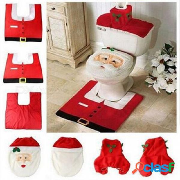 Cubierta de asiento de inodoro de santa de navidad, cubierta de caja de papel higiénico & set de alfombras, decoraciones navideñas