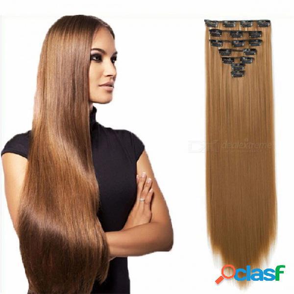 Extensión de cabello con clip de fibra química para el cabello mujer 7 pcs / set 16 tarjetas recta cortina de peluca de pelo / 22 pulgadas