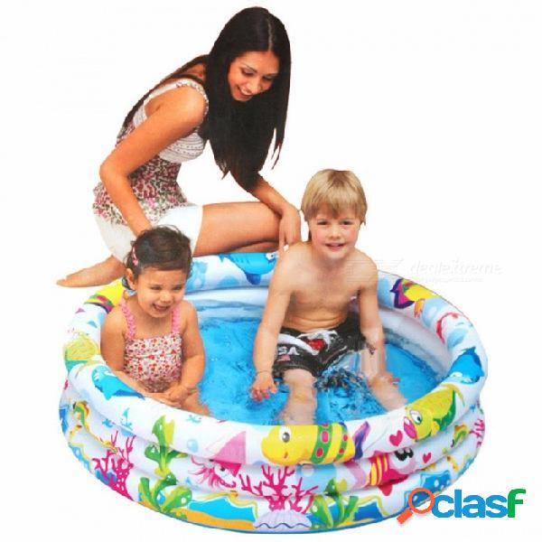 Inflable bebé piscina portátil redonda trinuclear al aire libre niños cuenca bañera niños piscinas 107x25cm multi