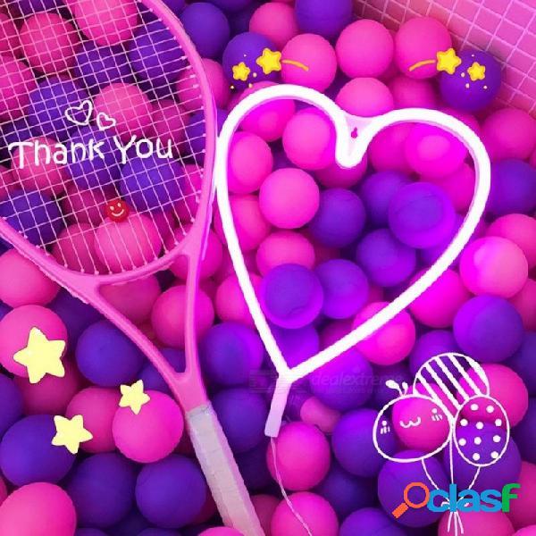 Led en forma de corazón letrero de neón luz led lámpara de noche luz de neón usb alimentado por batería habitación de niños decoración de pared rojo / blanco / rosa
