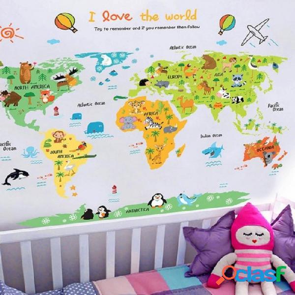 Mapa del mundo de dibujos animados pvc diy autoadhesivo pegatinas de pared de vinilo dormitorio decoración del hogar para niños decoración de la habitación arte mural de la pared mural mapa d