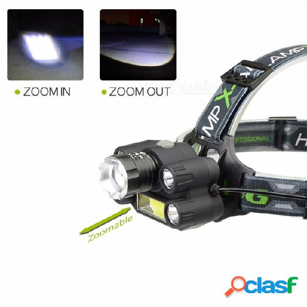 Cree t6 led + cob faro 7 modo faro cabeza recargable linterna lámpara frontal campamento caminata luz frío blanco / negro