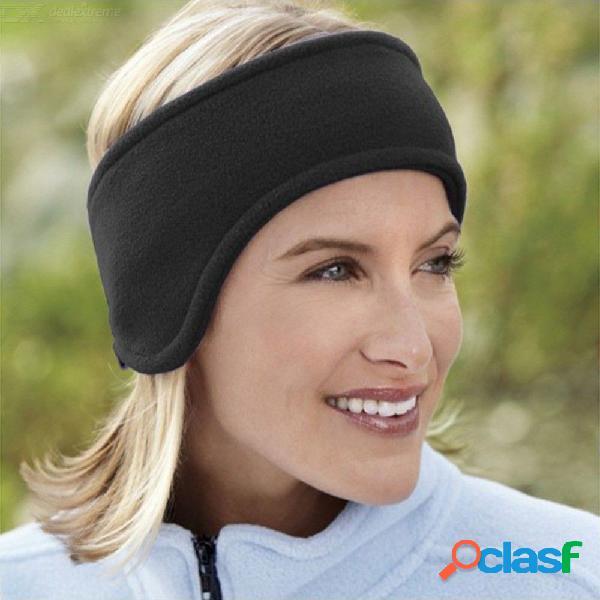 Cubierta del oído de la venda del paño grueso y suave polar doble del invierno para las mujeres - negro