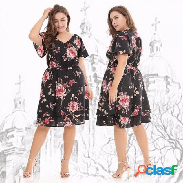 Estampado de flores con cuello en v vestidos de verano de poliéster para mujeres, gran tamaño, cintura alta, longitud de la rodilla, vestido de manga corta negro / xl
