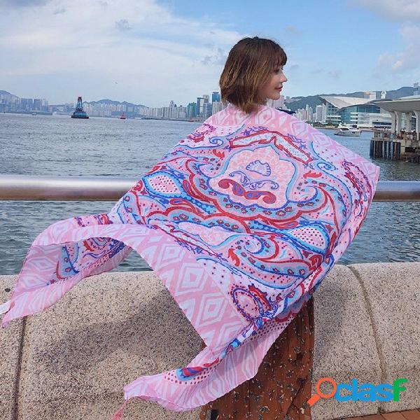 Moda tótem con estampado de verano playa chal para el sol bufanda del todo-fósforo del abrigo grande para las mujeres de color rosa